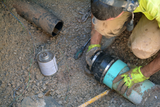 Connecting New Sewer Pipe